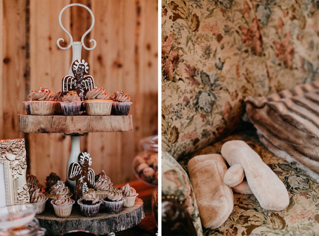 Cupcakes und Handschuhe Winterhochzeit