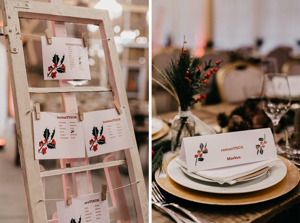 Winterhochzeit Tischkarten